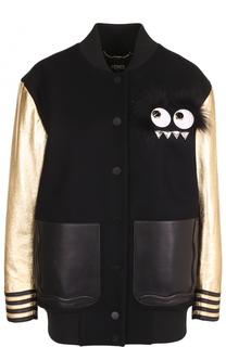Бомбер с металлизированными рукавами и кожаными карманами Fendi