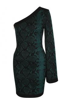 Мини-платье со змеиным принтом и открытым плечом Balmain
