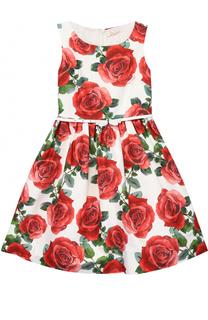 Платье с пышной юбкой и принтом Monnalisa