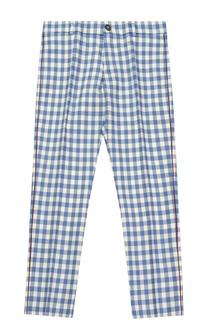 Шерстяные брюки в клетку с контрастной отделкой Gucci
