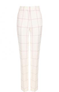 Льняные брюки прямого кроя в клетку Hillier Bartley