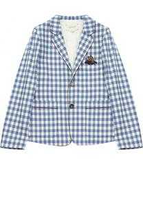 Шерстяной однобортный пиджак в клетку с нашивкой и контрастной отделкой Gucci