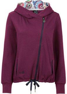 Трикотажная куртка с асимметричной застежкой-молнией (красная ягода) Bonprix