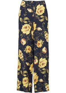 Брюки с широкими брючинами (темно-синий в цветочек) Bonprix
