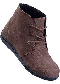 Ботинки из велюровой кожи (темно-коричневый) Bonprix