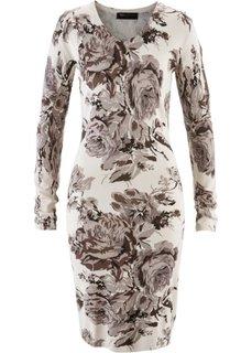 Вязаное платье (каменно-бежевый/бурый в цветочек) Bonprix
