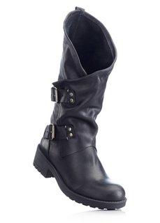 Кожаные сапоги (черный) Bonprix