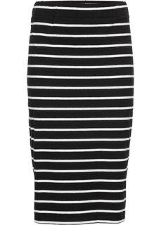 Трикотажная юбка с боковыми разрезами (черный/белый в полоску) Bonprix