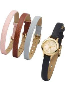 Часы + 4 браслета (розовый жемчуг + светло-серый + черный + коричневый + золотистый) Bonprix