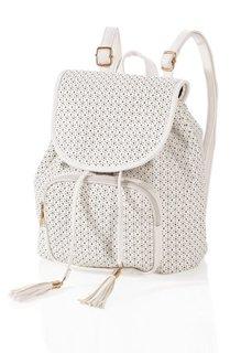 Рюкзак с перфорацией в форме звезд (белый) Bonprix