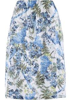 Льняная юбка с цветочным принтом (белый с рисунком) Bonprix