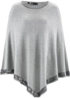 Вязаное пончо (светло-серый меланж/серебристый) Bonprix