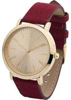 Часы на браслете из искусственной замши (бордовый) Bonprix