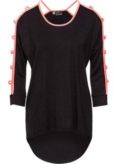 Удлиненная футболка с вырезами (черный/ярко-розовый) Bonprix