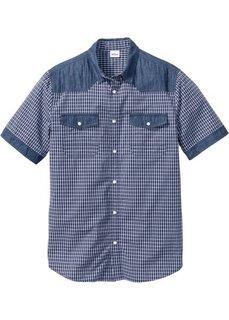 Джинсовая рубашка с коротким рукавом Regular Fit (синий) Bonprix