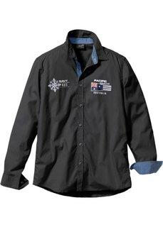 Рубашка Regular Fit с длинным рукавом (черный) Bonprix