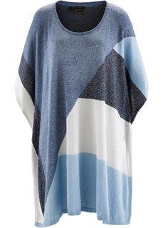 Вязаное пончо (синий/нежно-голубой/кремовый) Bonprix