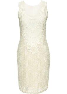 Украшенное кружевом платье (кремовый) Bonprix