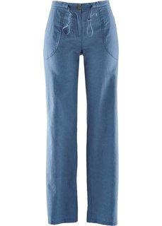 Льняные брюки (синий) Bonprix