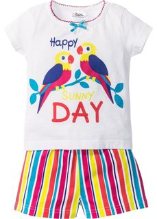 Пижама с шортами (2 изд.) (белый/разноцветный в полоску) Bonprix