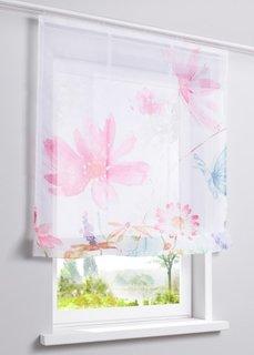 Римская штора Цветы, Шина с лентой велкро (ярко-розовый) Bonprix