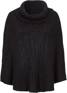 Вязаное пончо (черный) Bonprix