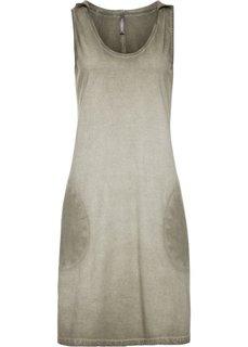 Трикотажное платье с капюшоном (оливковый) Bonprix