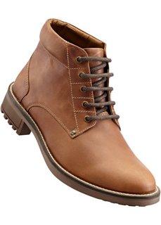 Кожаные ботинки на шнурках (коньячный) Bonprix