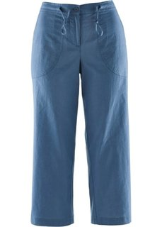 Льняные брюки 3/4 (синий) Bonprix