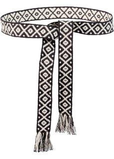 Текстильный пояс Этно (черный/белый) Bonprix