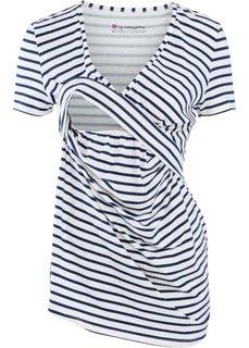 Для будущих и кормящих мам: футболка с V-образным вырезом и коротким рукавом (кремовый/темно-синий в полоску) Bonprix