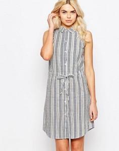 Льняное платье-рубашка с полоску со шнурком на талии Influence - Серый
