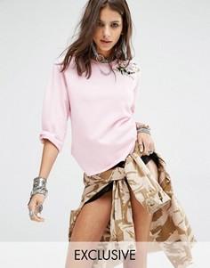 Свитшот с рукавами 3/4 и цветочной вышивкой Milk It - Розовый