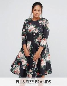 Платье миди с цветочным принтом Chi Chi London Plus - Черный