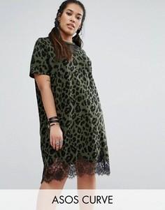 Платье-футболка с кружевными вставками и леопардовым принтом ASOS CURVE - Мульти