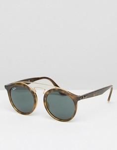 Круглые солнцезащитные очки с зеркальными стеклами Ray-Ban Gatsby 0RB4256 - Коричневый
