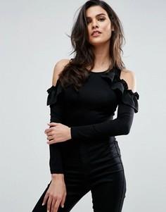 Боди с открытыми плечами и оборками ASOS - Черный