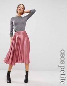 Атласная юбка миди со складками ASOS PETITE - Розовый