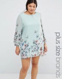 Цельнокройное платье с принтом бабочек Yumi Plus - Синий