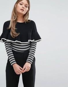 Боди в полоску с длинными рукавами Fashion Union - Черный