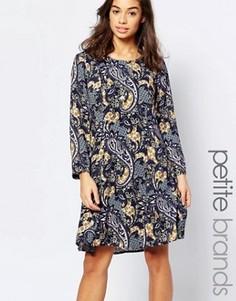 Короткое приталенное платье с принтом пейсли Vero Moda Petite - Темно-синий
