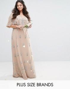 Декорированное платье макси с рукавами-кимоно Lovedrobe Luxe - Розовый