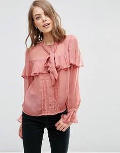 Блузка с рюшами и бантом‑завязкой ASOS Ultimate - Розовый