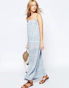 Летнее платье макси с высоким воротом ASOS - Синий