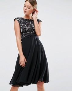 Приталенное платье миди с кружевным топом Elise Ryan - Черный