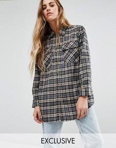 Рубашка бойфренда в клетку Reclaimed Vintage - Серый