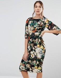 Платье миди с рукавами-кимоно Closet - Черный