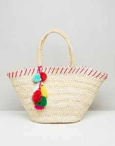 Соломенная пляжная сумка с помпонами South Beach - Кремовый