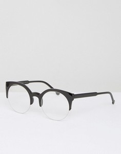 Круглые очки в стиле ретро с прозрачными стеклами 7X - Черный