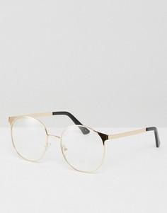 Очки с прозрачными линзами в круглой металлической оправе ASOS - Золотой